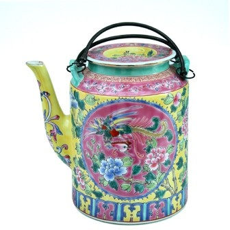 The Peranakan Chinese community held dear rituals and protocol. Such teapots were used by the younger generations, kneeling before their elders and serving them tea during the occasions of weddings and Chinese New Year.