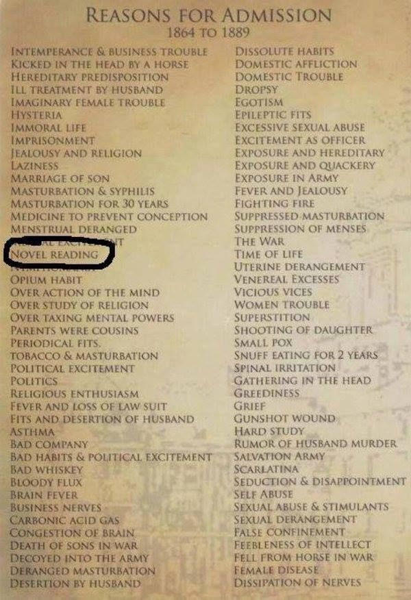 Admissions to Women's Insane Asylum 1864-1889. Oh my.