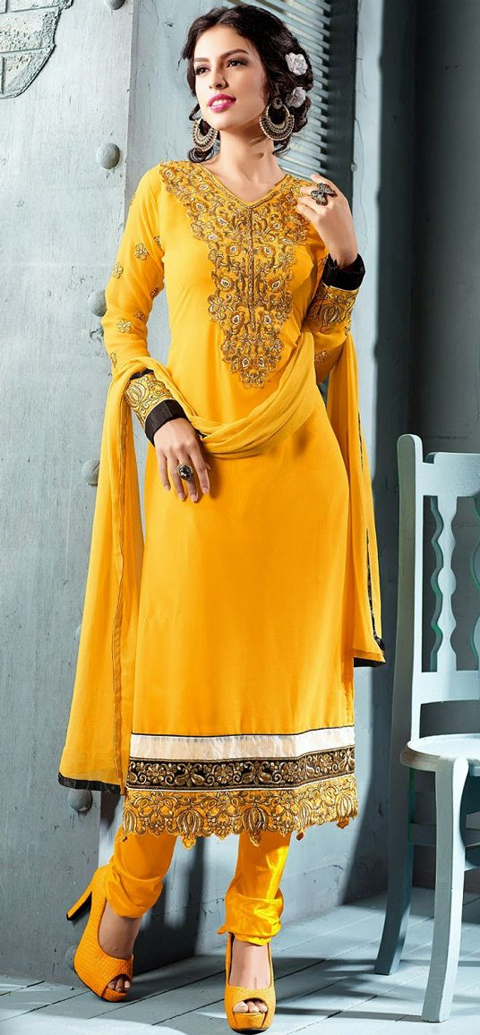 USD 28.14 Yellow Georgette Churidar Salwar Kameez 43571