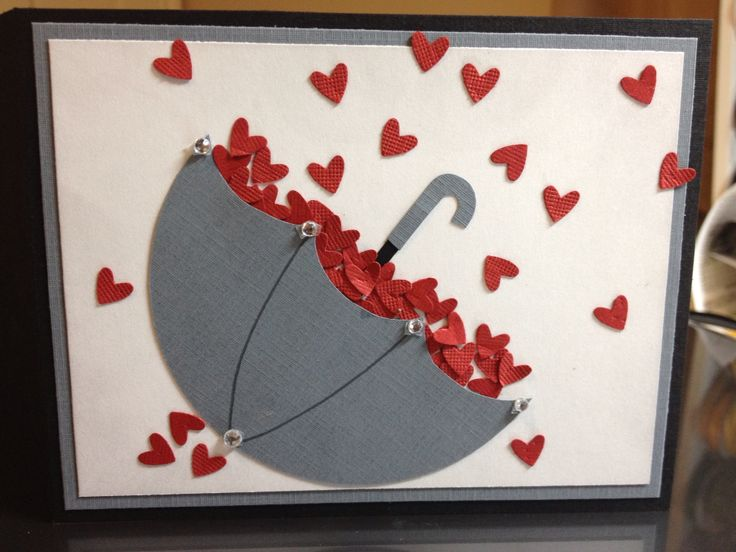 """A card for a bridal shower. Hearts from the Stampin Up Owl Punch. Umbrella from a 3.5"""" circle, hand cut the scallop."""