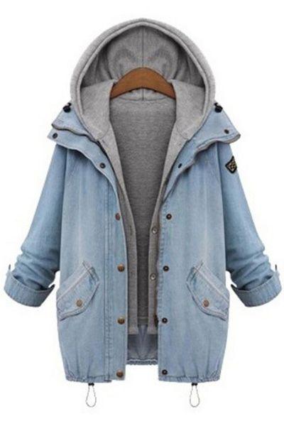 Hooded Drawstring Boyfriend Trends Pockets Jean Coat