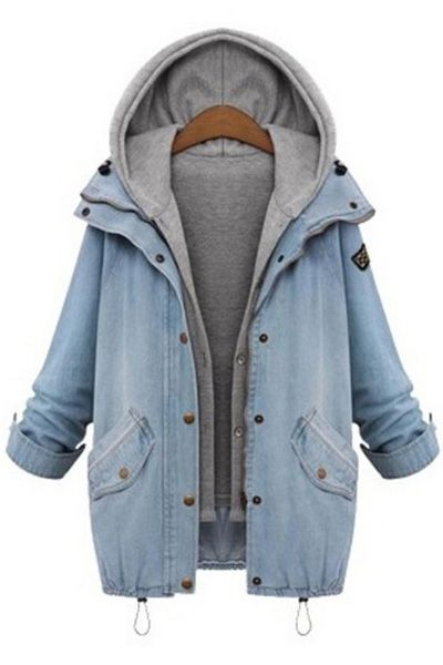 Hooded Drawstring Boyfriend Trends Pockets Jean Coat LIGHT BLUE: Jackets & Coats | ZAFUL