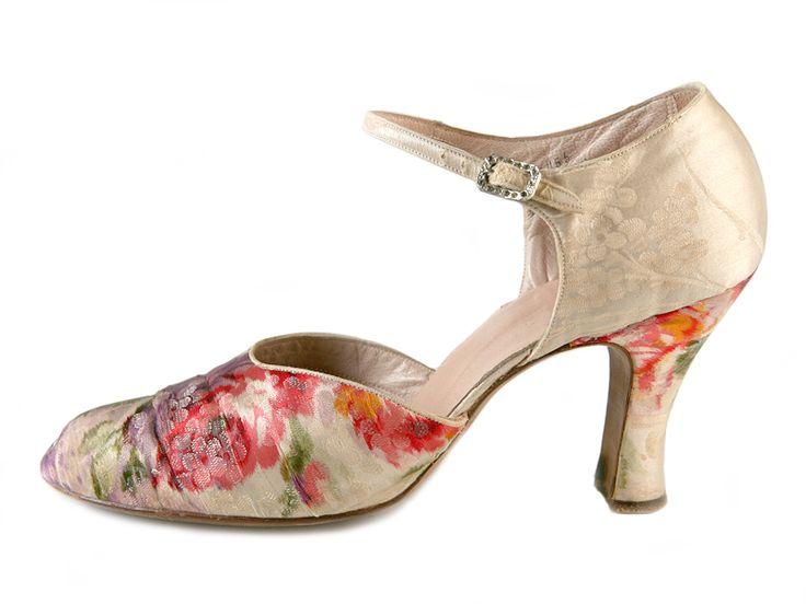 Floral Silk Dance Shoes, 1930s