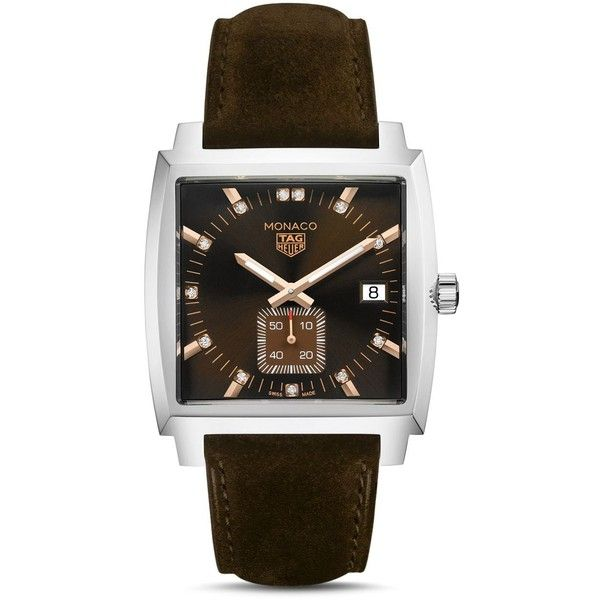 Tag Heuer Monaco Diamond Watch, 37mm ($2,350) ❤ liked on Polyvore featuring men's fashion, men's jewelry, men's watches, brown, mens diamond watches, mens brown leather watches and tag heuer men's watches