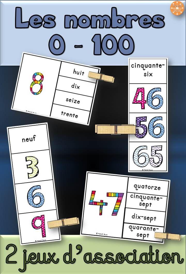 Les nombres 0-100: 2 jeux d'association pour que les élèves pratiquent les nombres dans les centres de mathématiques. Utiliser une pince à linges ou un trombone.