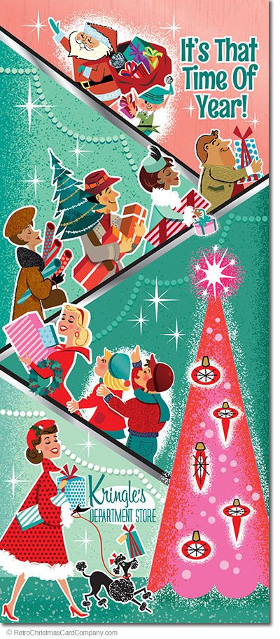 Happy Christmas Shoppers Cards  Happy Christmas Shoppers Cards features an illustrated scene of a vintage department store. Shoppers are cheerfully going up the escalator with all their colorful gifts and treasures in tow. The scene sparkles with excitement as Santa makes an appearance but the only ones who notice are the kids!  8 cards & envelopes $13.00 | Folded Card Size 4.0″x 9.25″  $13.00