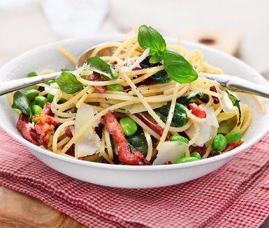 Recept: Paolos spaghetti med basilika och rimmat fläsk