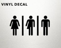Transgender Bathroom Decal - Gay Art, Trans, Gay Pride Decal, Bathroom Sign, Bathroom Decal