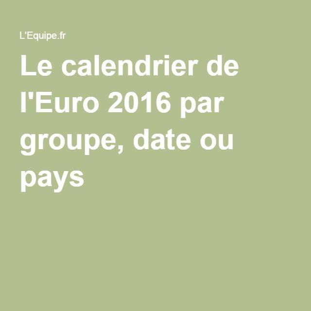 Le calendrier de l'Euro 2016 par groupe, date ou pays