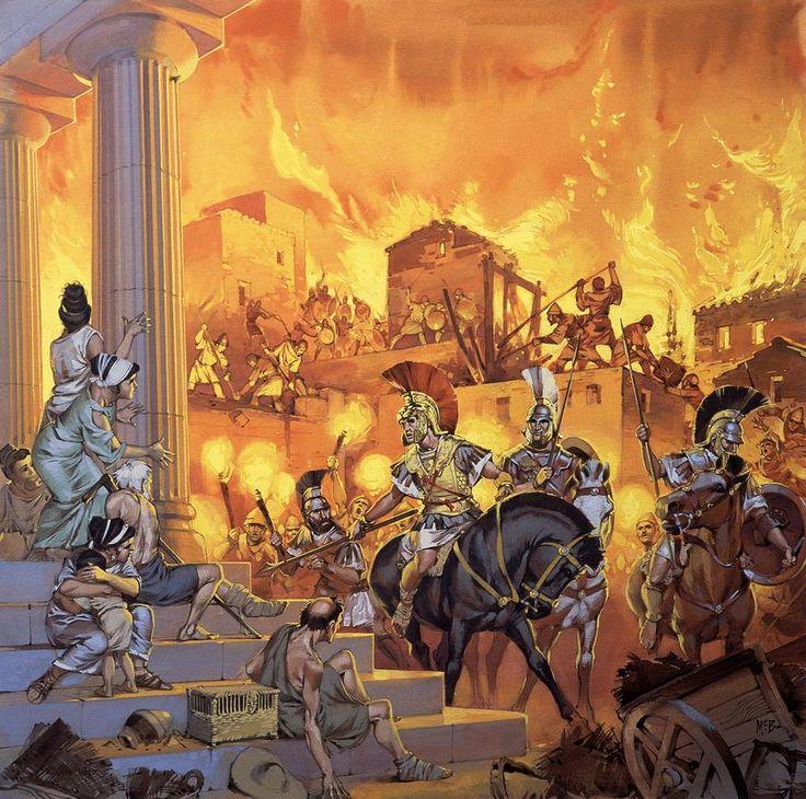 El incendio de Tebas por las tropas de Alejandro Magno, por Angus McBride. Más www.elgrancapitan.org/foro