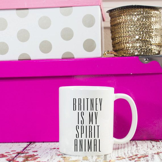 11oz Britney is my spirit animal coffee mug. Perfect to keep for yourself or give as a gift for any occasion!    Please contact me to