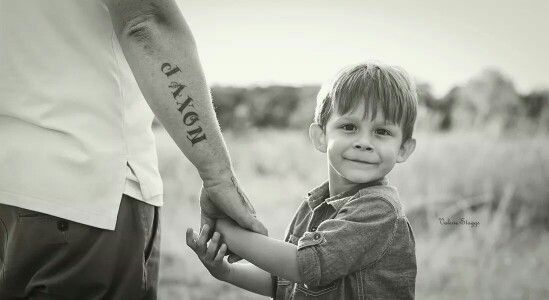 Child photography father son tattoo