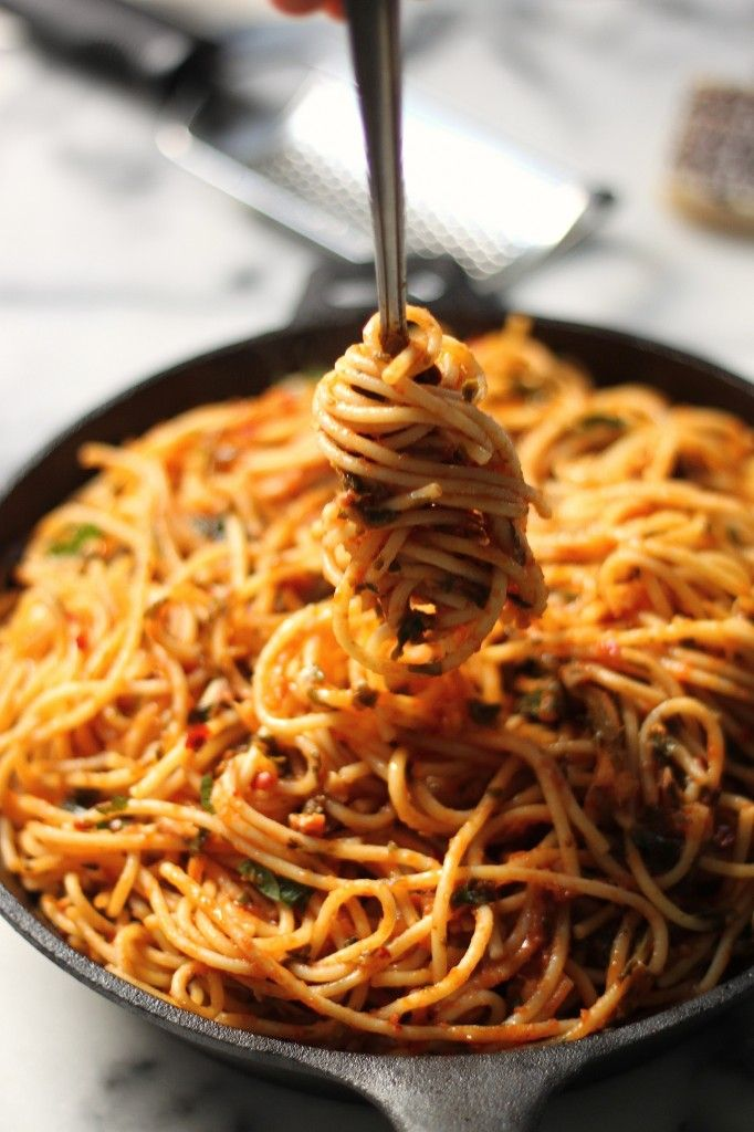Simple Spaghetti Fra Diavolo - Spicy, saucy, and ready in less than 20 minutes!