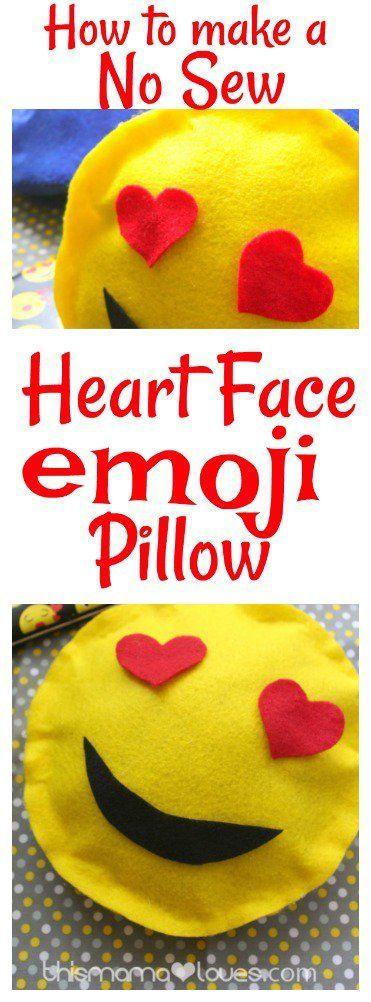 How to Make a No Sew Heart Face Emoji Pillow - emoji craft- easy no sew emoji craft- heart face emoji craft idea