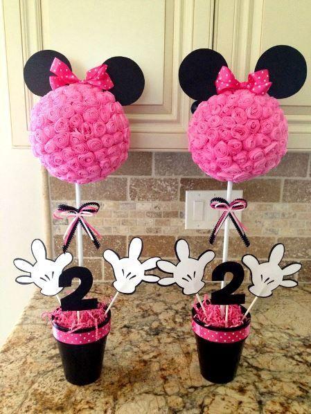 topiarios de rosas para fiesta minnie mouse