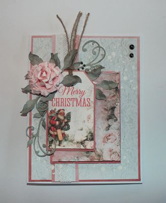 A Christmas card with the Silver Bells Collection for Kaisercraft. Made by Kirsten Hyde
