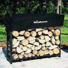 """The Woodhaven 3-ft Firewood Log Rack - Woodhaven Original Site by Woodhaven. $72.73. Arc welded end sections, try finding another rack this strong!. Simple assembly!. Proudly made in the U.S.A. (cover imported). Our own cover design, covers the top 12"""" of the wood, and automatically adjusts for the amount of wood in the rack.. Black, baked on powder coat finish, the best finish and environmentally friendly.. Measures 36"""" by 36"""" by 10""""1/8 Cord Woodhaven Firewood R..."""