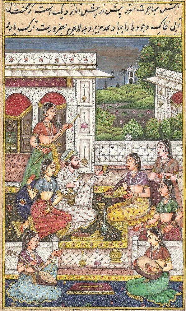 Mughal Miniature Harem Painting.
