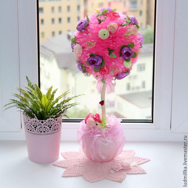 """Купить Топиарий """"Розовый"""", дерево счастья - топиарий, топиарий дерево счастья, европейское дерево, Топиарии"""