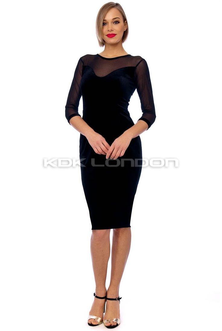 Black Mesh Sleeve Detail Velvet Midi Dress