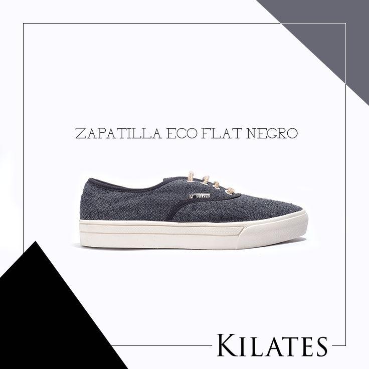 Zapatilla Eco Flat Negro