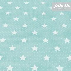 jubelis® Wachstuch Meterware und Rollen Starlet hellblau mit weißen Sternen