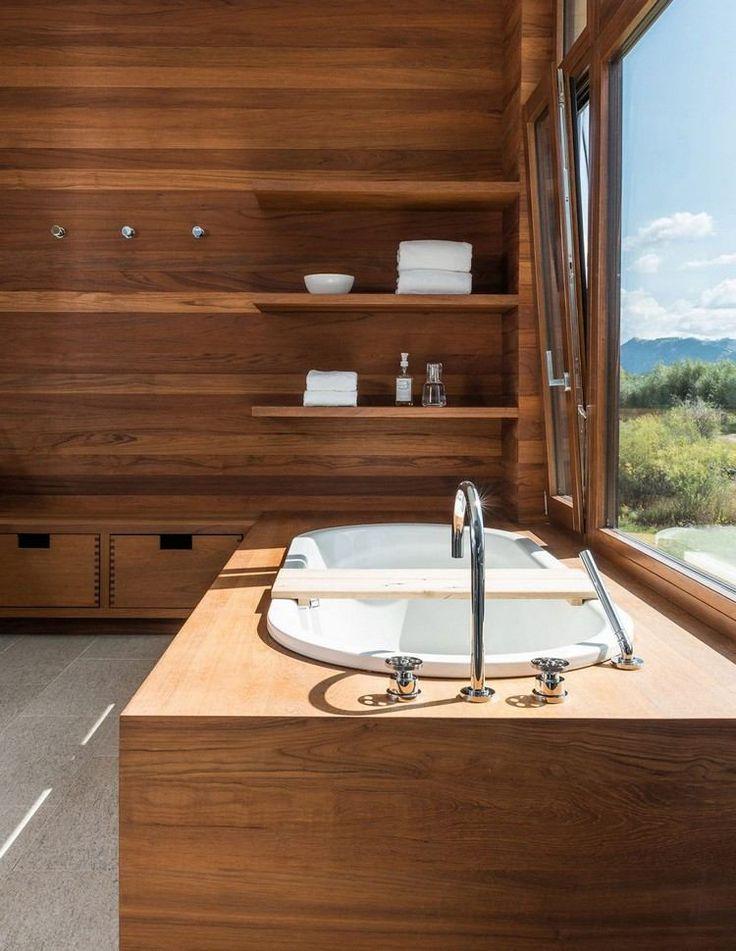 bois, lambris bois massif, tablier de baignoire assorti et carrelage ...