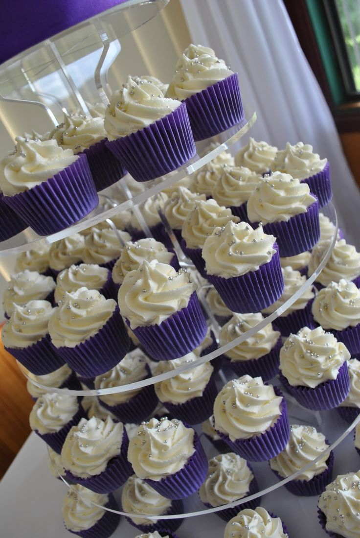 Purple Wedding Ideas Ercream Swirls And Tiny Silver Cachous In Cupcakeswedding Cupcake