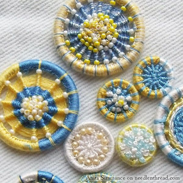Handmade and embroidered Dorset buttons