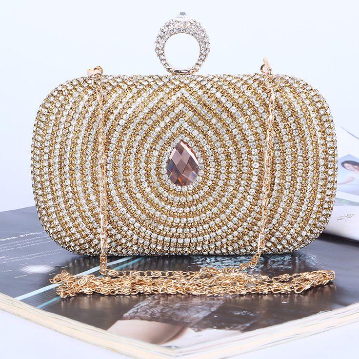 Ring Diamonds women evening bags rhinestones clutches purse gold evening bag small chain shoulder bag Casual Clutches Women