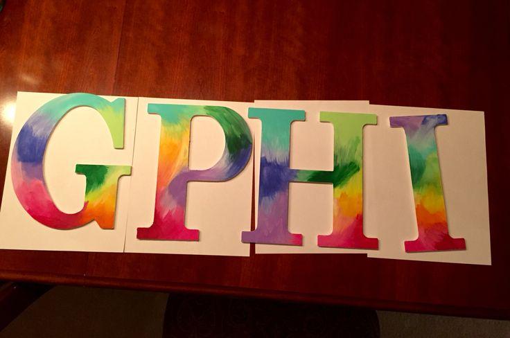 Gphi tie dye letters | little crafts | gamma phi beta | sorority letters | big little reveal