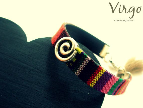 Handmade Leather & Fabric Ethnic Bracelet by VirgoHandmadeJewelry