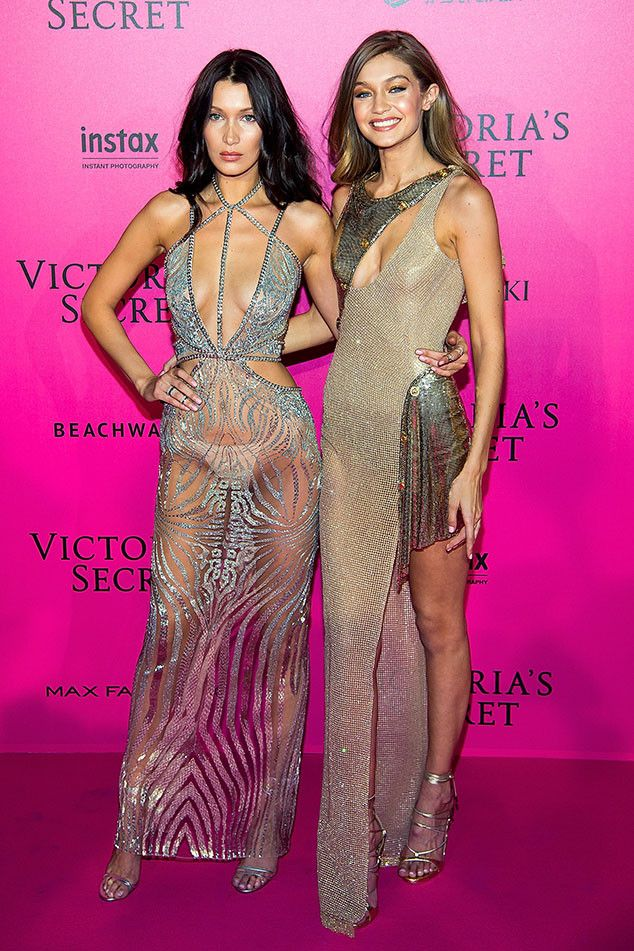 Bella Hadid and Gigi Hadid from Victoria's Secret Fashion Show 2016 Pink Carpet Arrivals  Sister act! The two supermodel sisters posed together on the pink carpet in shimmering ensembles.