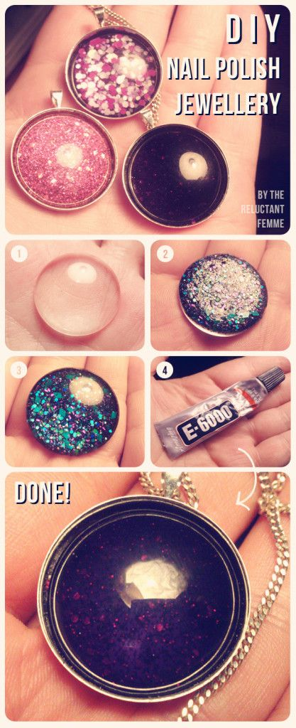 DIY Nail Polish Jewelry - I keep seeing really detailed nail art. But it's too temp for me to spend the time and money to do. However, this little craft would be perfect to try some of those designs.