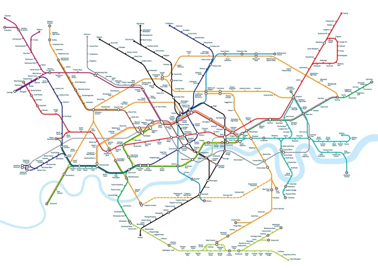 """A new version of the London Underground map with stations positioned geographically designed by Mark Noad"" via notcot.org"