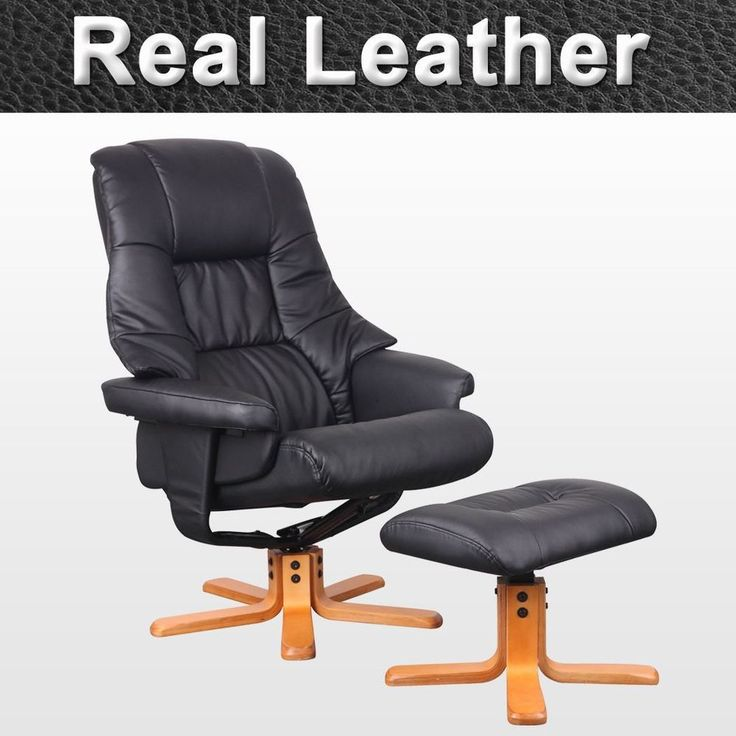 SORENTO REAL LEATHER BLACK SWIVEL RECLINER CHAIR W FOOT STOOL ARMCHAIR  OFFICE