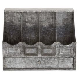 """Whether catching mail in the entryway or stowing forks and knives atop your kitchen counters, this galvanized metal utensil holder brims with rustic style.  Product: Utensil holderConstruction Material: MetalColor: SilverFeatures:  One drawFour cubbiesLabel details Dimensions: 12"""" H x 16"""" W x 10"""" D"""