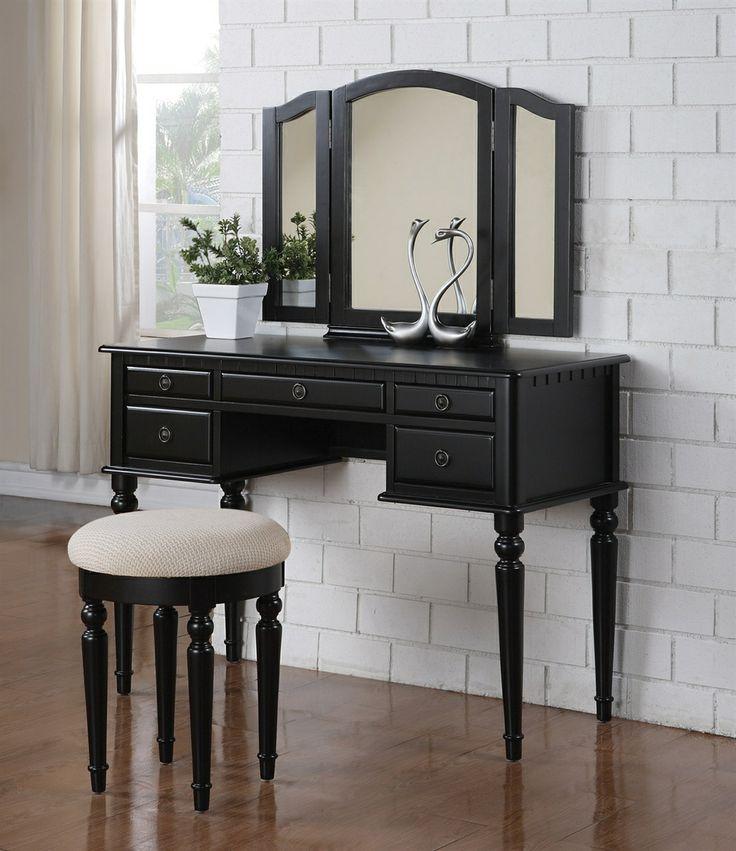 Elegant Bobkona St Croix Collection Vanity Set with Stool Black