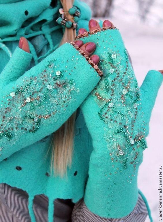 Купить Комплект валяный шапочка шарф митенки Предчувствие весны - бирюзовый, абстрактный, шапочка