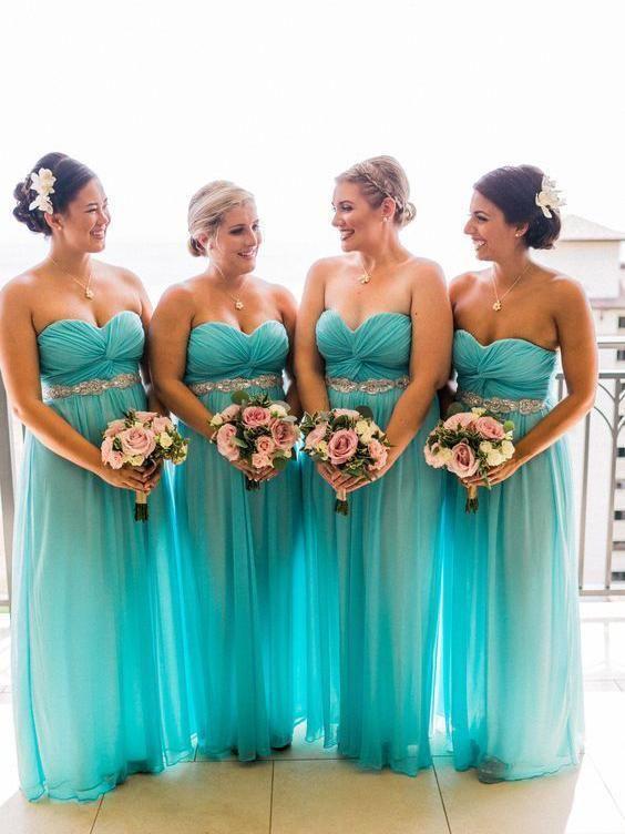 Sweetheart Neck Turquoise Bridesmaid Dresses Beaded Plus Size ...