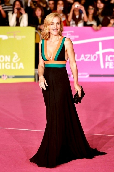 Gillian Anderson Walks the Red Carpet in Christos Costarellos