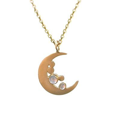 Moonstone and gold vermeil moon pendant by Phoebe Jewellery