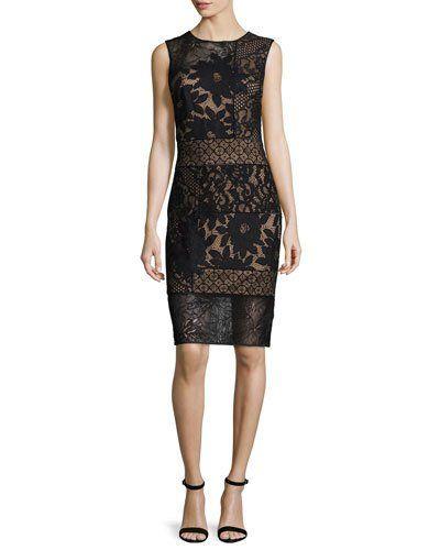 TBJH5 Tadashi Shoji Sleeveless Patchwork Lace Sheath Dress