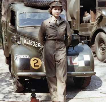 Queen Elizabeth II during her WWII service.
