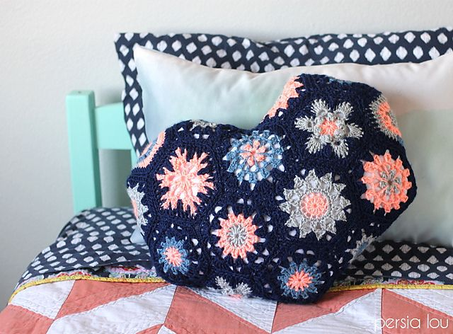 Ravelry: Heart-Shaped Hexagon Pillow pattern by Alexis Middleton
