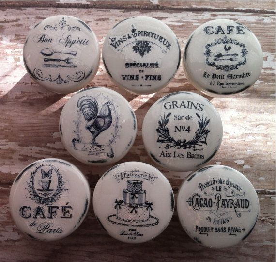 Vintage Handmade Kitchen Knobs CAFE Drawer by PinkSugarVintage, $39.00---------------FOR THE KITCHEN