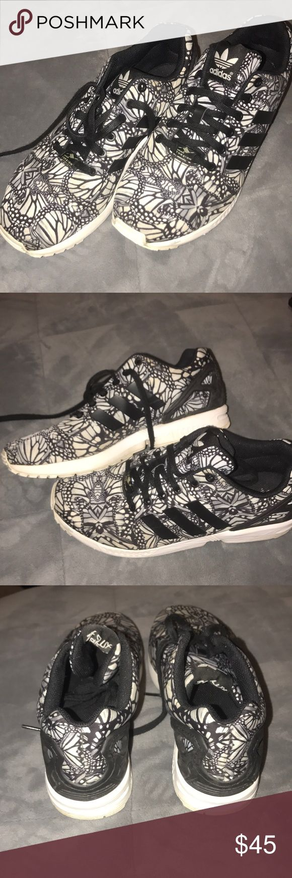 Adidas Torsion ZX Flux Butterfly Print Adidas Torsion ZX Flux black and white butterfly print (amazing condition!) adidas Shoes Sneakers