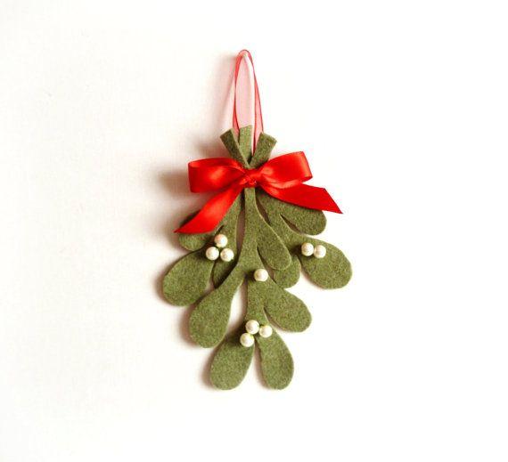Natale vischio vischio tradizionale decorazione, ornamento di Natale, Natale Home Decor, Decor Holiday, verde bianco rosso, Natale feltro