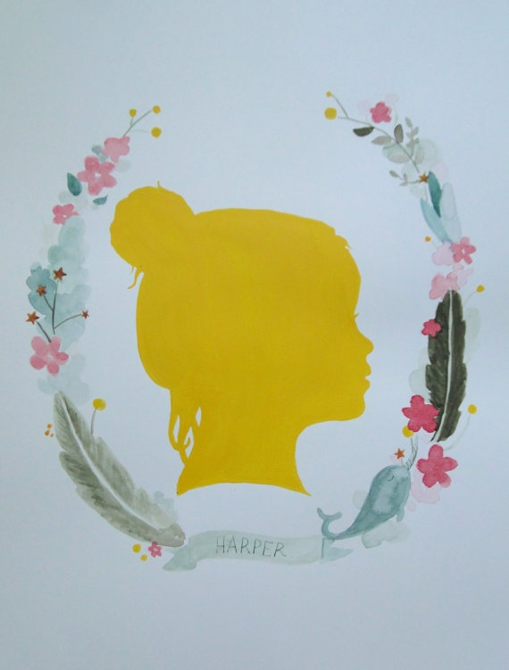 Custom Watercolor Silhouette with Personalized by alovelylark, $48.00Child Room, Custom Watercolors, Baby Names Wreaths Watercolors, Baby Ideas, Kids Crafts, Child Silhouettes, Watercolors Silhouettes, Art Projects, Girl Names