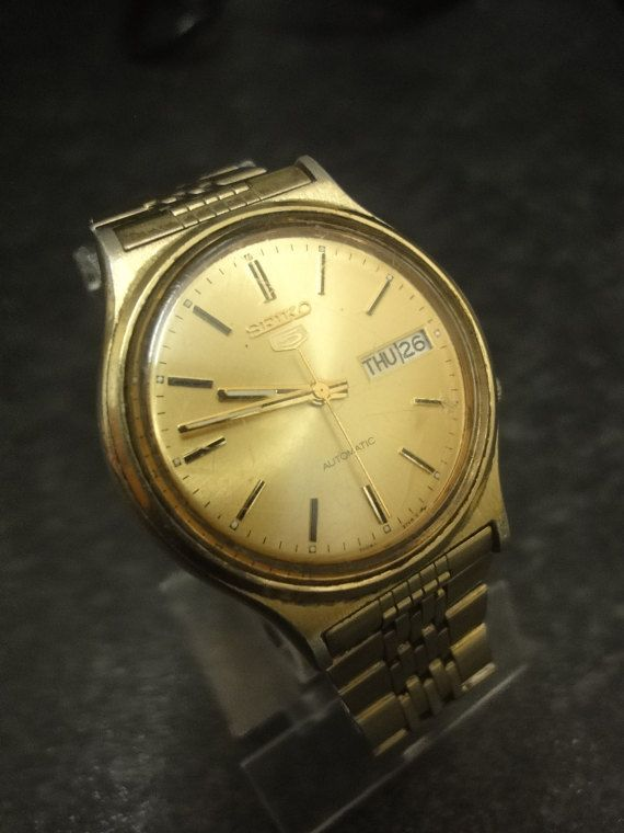 Seiko 5 Automatic day & date 7009-3050 Rare Vintage Gents Watch Gold Bracelet